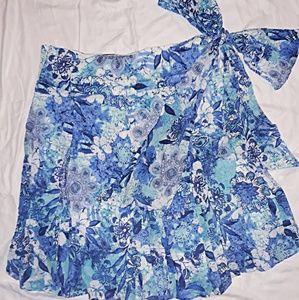 Linen faux wrap skirt